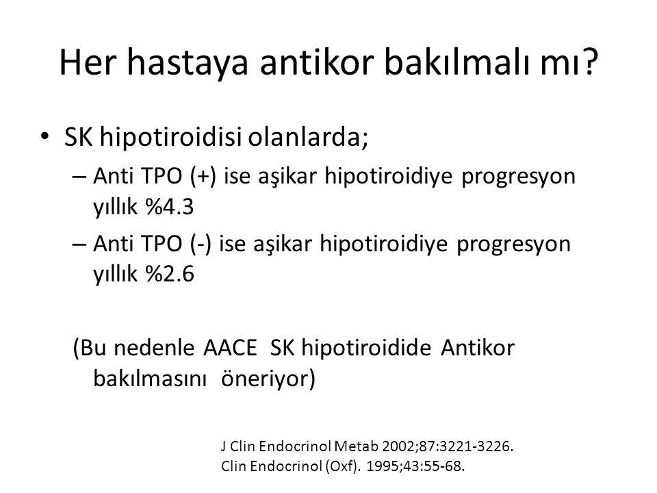 Her hastaya antikor bakılmalı mı? SK hipotiroidisi olanlarda; – Anti TPO (+) ise aşikar hipotiroidiye progresyon yıllık %4.3 – Anti TPO (-) ise aşikar