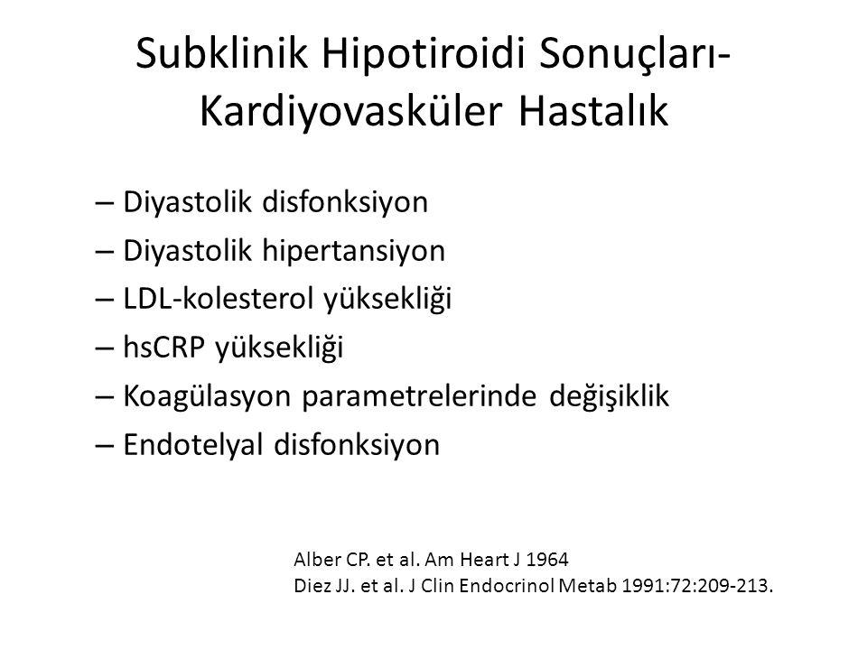 Subklinik Hipotiroidi Sonuçları- Kardiyovasküler Hastalık – Diyastolik disfonksiyon – Diyastolik hipertansiyon – LDL-kolesterol yüksekliği – hsCRP yük