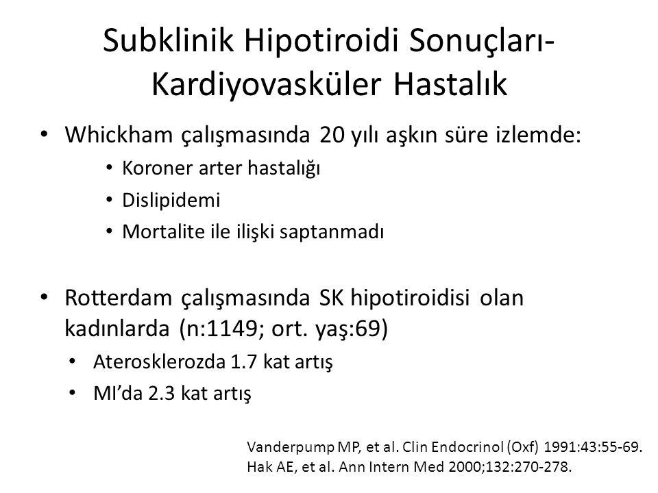 Subklinik Hipotiroidi Sonuçları- Kardiyovasküler Hastalık Whickham çalışmasında 20 yılı aşkın süre izlemde: Koroner arter hastalığı Dislipidemi Mortal