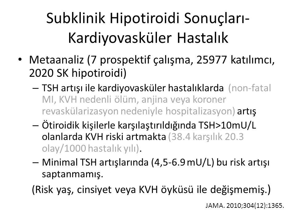 Subklinik Hipotiroidi Sonuçları- Kardiyovasküler Hastalık Metaanaliz (7 prospektif çalışma, 25977 katılımcı, 2020 SK hipotiroidi) – TSH artışı ile kar