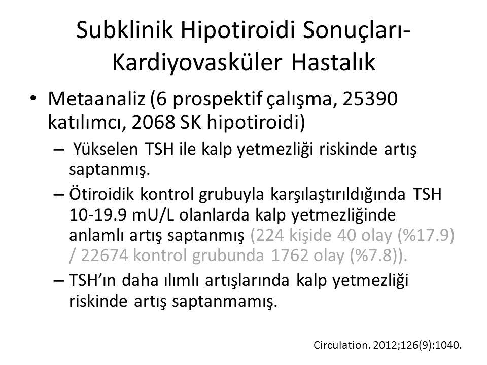 Subklinik Hipotiroidi Sonuçları- Kardiyovasküler Hastalık Metaanaliz (6 prospektif çalışma, 25390 katılımcı, 2068 SK hipotiroidi) – Yükselen TSH ile k