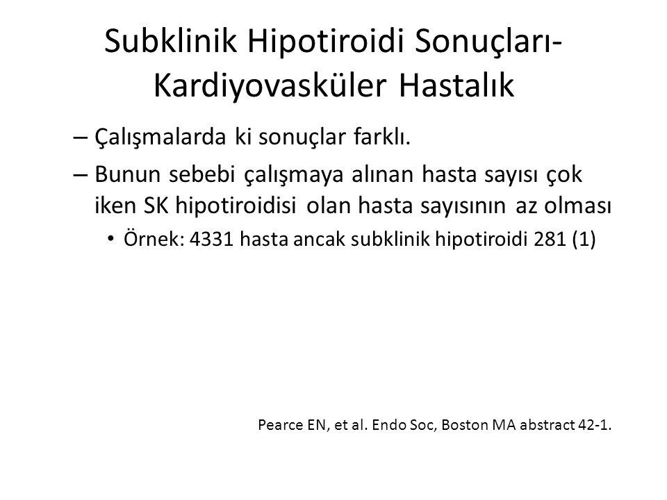 Subklinik Hipotiroidi Sonuçları- Kardiyovasküler Hastalık – Çalışmalarda ki sonuçlar farklı. – Bunun sebebi çalışmaya alınan hasta sayısı çok iken SK
