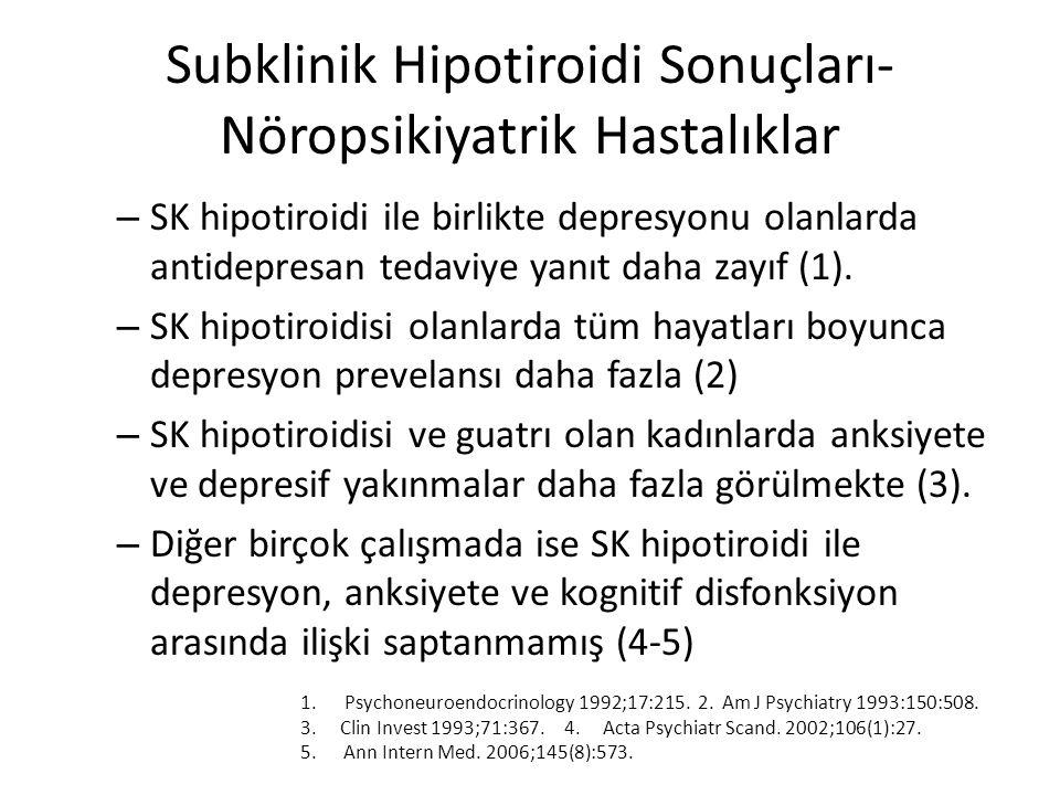 Subklinik Hipotiroidi Sonuçları- Nöropsikiyatrik Hastalıklar – SK hipotiroidi ile birlikte depresyonu olanlarda antidepresan tedaviye yanıt daha zayıf