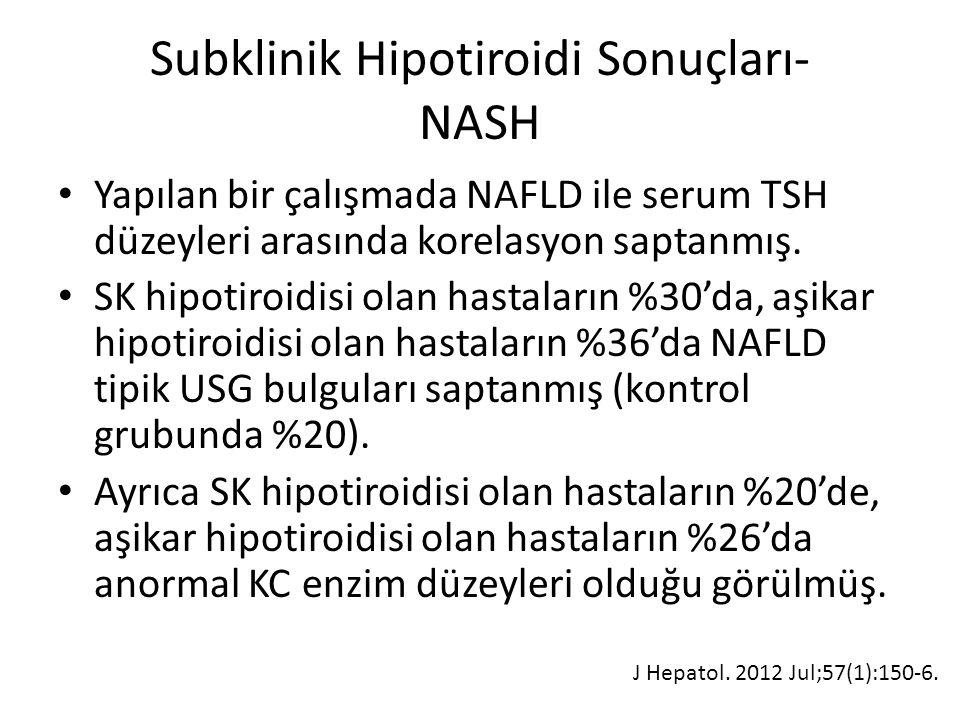 Subklinik Hipotiroidi Sonuçları- NASH Yapılan bir çalışmada NAFLD ile serum TSH düzeyleri arasında korelasyon saptanmış. SK hipotiroidisi olan hastala