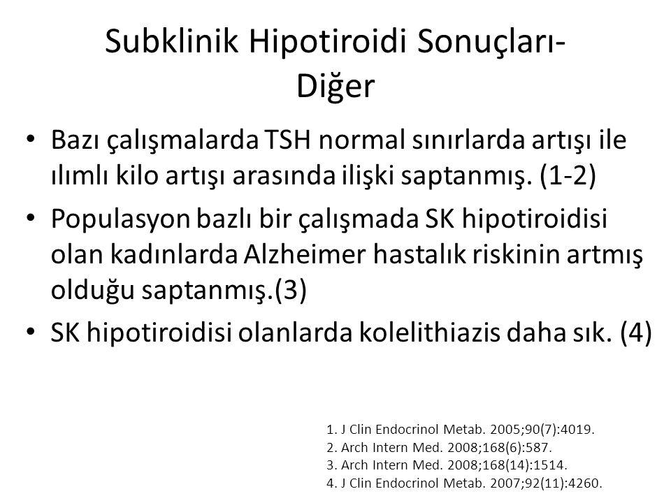 Subklinik Hipotiroidi Sonuçları- Diğer Bazı çalışmalarda TSH normal sınırlarda artışı ile ılımlı kilo artışı arasında ilişki saptanmış. (1-2) Populasy