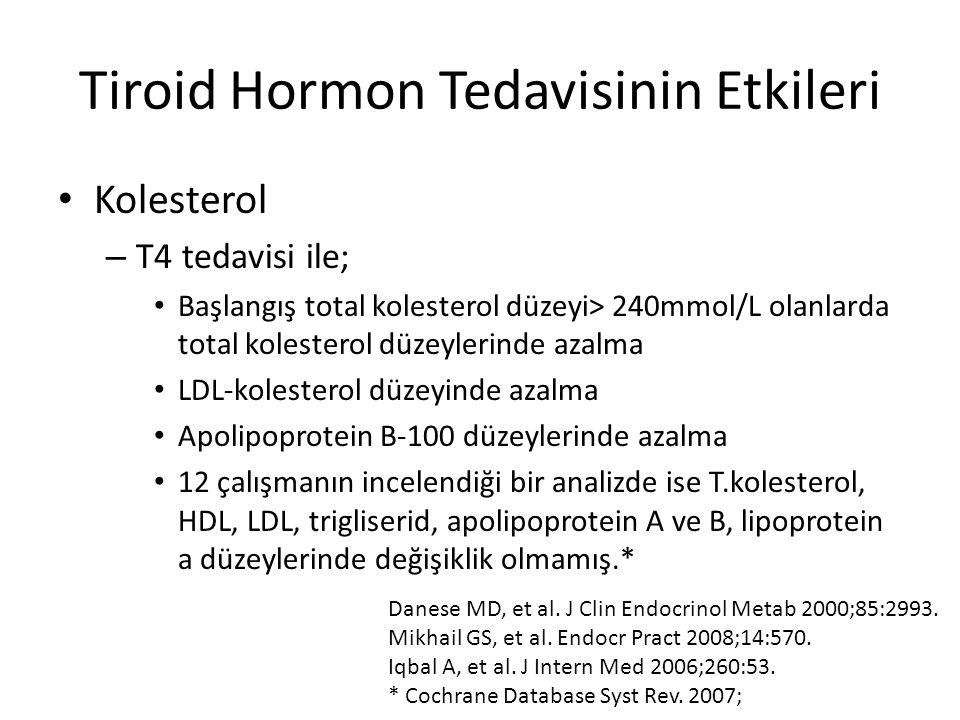 Tiroid Hormon Tedavisinin Etkileri Kolesterol – T4 tedavisi ile; Başlangış total kolesterol düzeyi> 240mmol/L olanlarda total kolesterol düzeylerinde