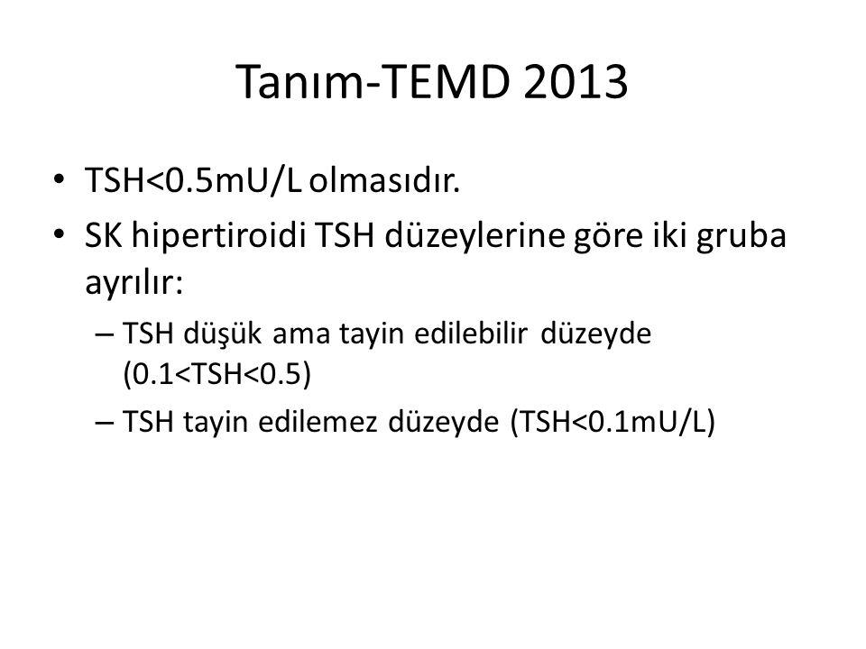 Tanım-TEMD 2013 TSH<0.5mU/L olmasıdır. SK hipertiroidi TSH düzeylerine göre iki gruba ayrılır: – TSH düşük ama tayin edilebilir düzeyde (0.1<TSH<0.5)