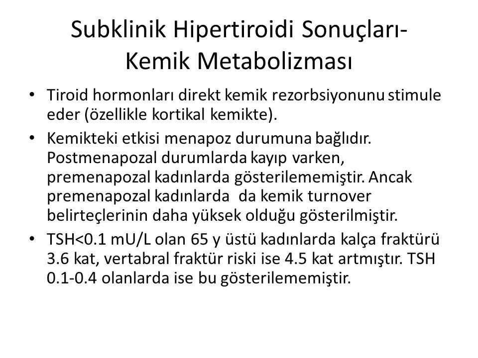 Subklinik Hipertiroidi Sonuçları- Kemik Metabolizması Tiroid hormonları direkt kemik rezorbsiyonunu stimule eder (özellikle kortikal kemikte). Kemikte