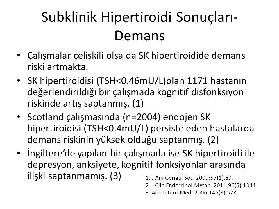 Subklinik Hipertiroidi Sonuçları- Demans Çalışmalar çelişkili olsa da SK hipertiroidide demans riski artmakta. SK hipertiroidisi (TSH<0.46mU/L)olan 11
