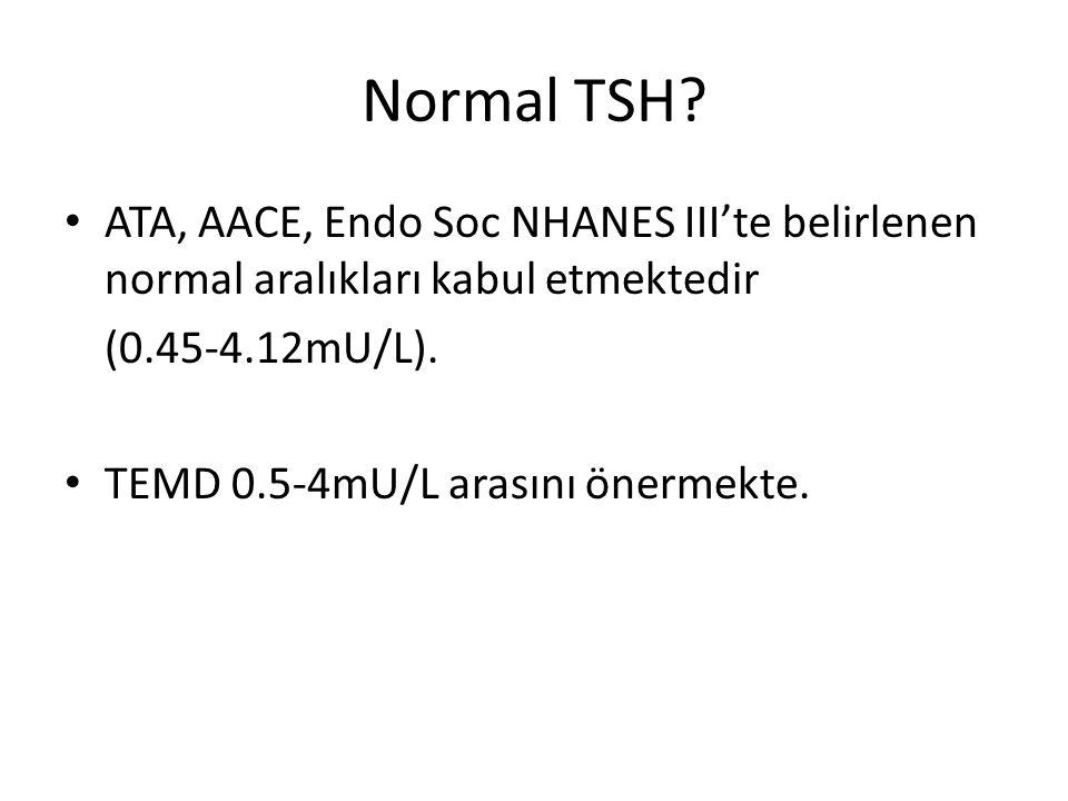 Normal TSH? ATA, AACE, Endo Soc NHANES III'te belirlenen normal aralıkları kabul etmektedir (0.45-4.12mU/L). TEMD 0.5-4mU/L arasını önermekte.