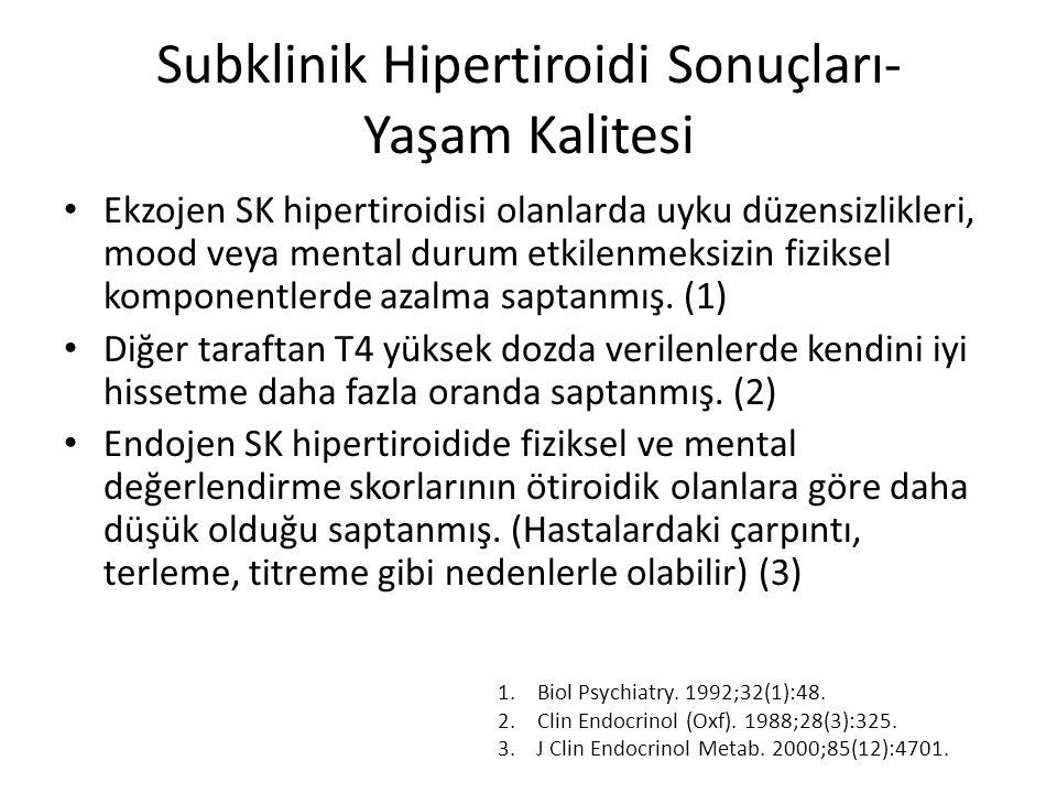 Subklinik Hipertiroidi Sonuçları- Yaşam Kalitesi Ekzojen SK hipertiroidisi olanlarda uyku düzensizlikleri, mood veya mental durum etkilenmeksizin fizi