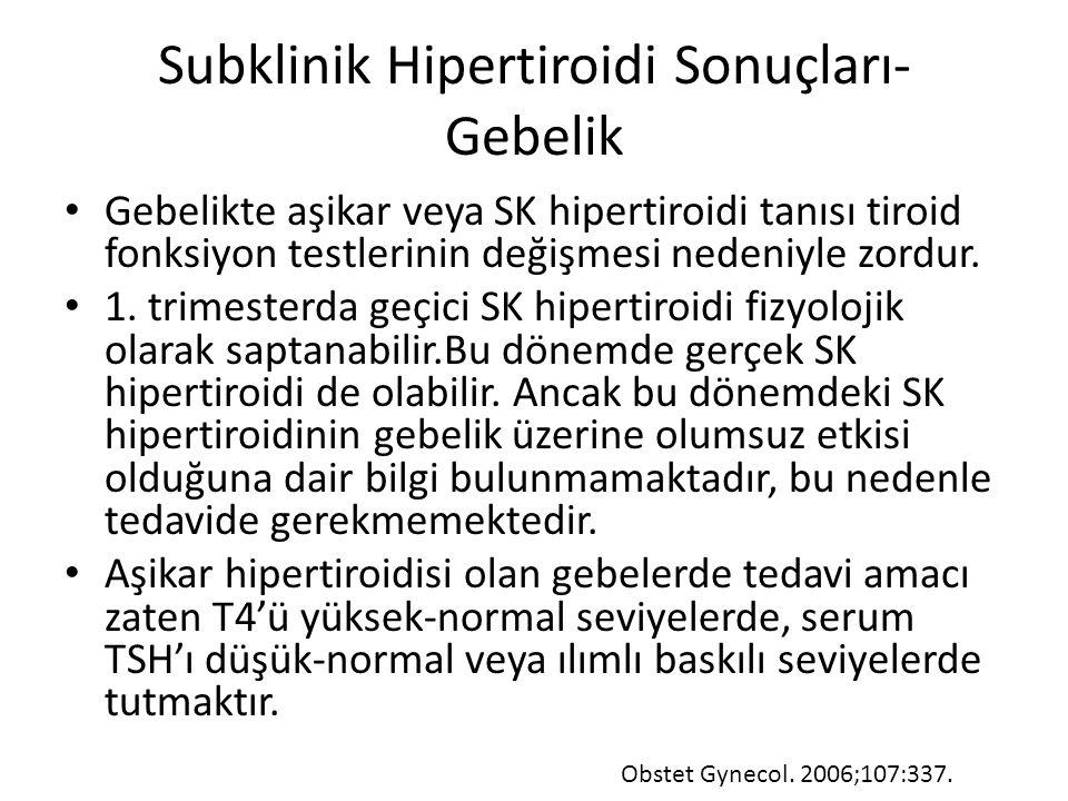 Subklinik Hipertiroidi Sonuçları- Gebelik Gebelikte aşikar veya SK hipertiroidi tanısı tiroid fonksiyon testlerinin değişmesi nedeniyle zordur. 1. tri