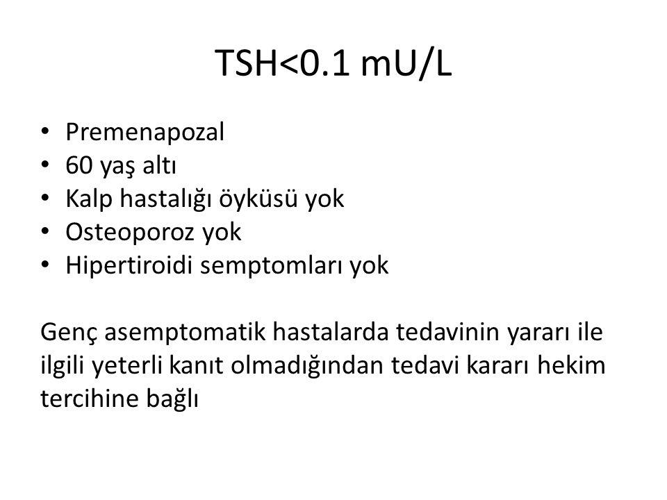 TSH<0.1 mU/L Premenapozal 60 yaş altı Kalp hastalığı öyküsü yok Osteoporoz yok Hipertiroidi semptomları yok Genç asemptomatik hastalarda tedavinin yar