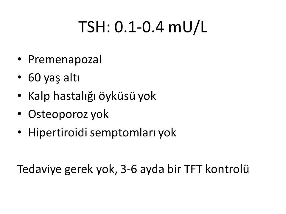 TSH: 0.1-0.4 mU/L Premenapozal 60 yaş altı Kalp hastalığı öyküsü yok Osteoporoz yok Hipertiroidi semptomları yok Tedaviye gerek yok, 3-6 ayda bir TFT