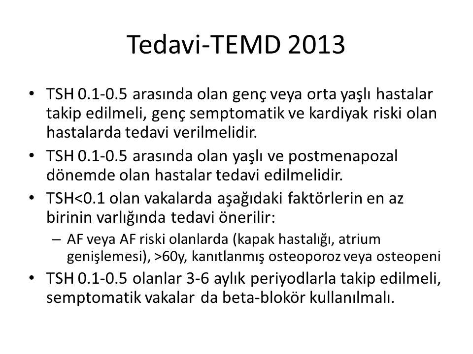 Tedavi-TEMD 2013 TSH 0.1-0.5 arasında olan genç veya orta yaşlı hastalar takip edilmeli, genç semptomatik ve kardiyak riski olan hastalarda tedavi ver