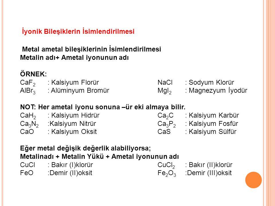Metal ametal bileşiklerinin İsimlendirilmesi Metalin adı+ Ametal iyonunun adı ÖRNEK: CaF 2 : Kalsiyum FlorürNaCl: Sodyum Klorür AlBr 3 : Alüminyum Bro