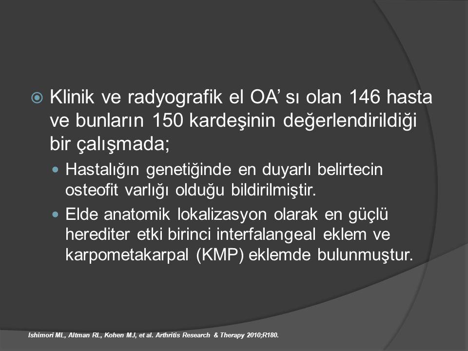  Klinik ve radyografik el OA' sı olan 146 hasta ve bunların 150 kardeşinin değerlendirildiği bir çalışmada; Hastalığın genetiğinde en duyarlı belirte