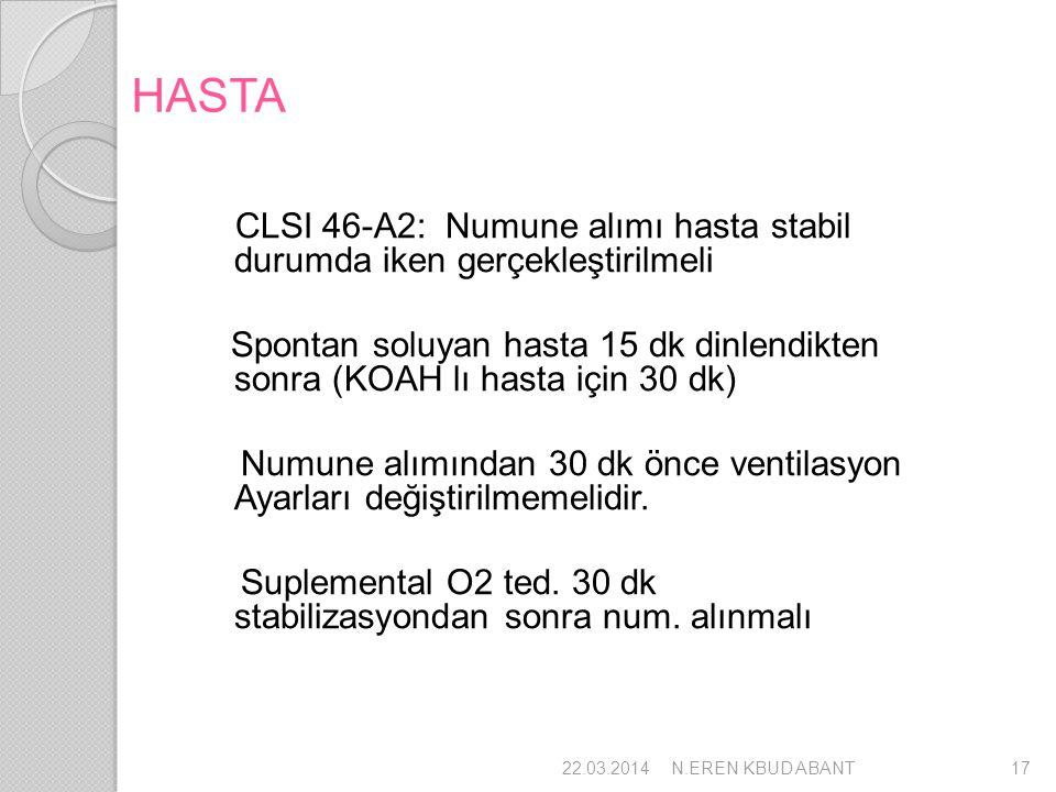 HASTA CLSI 46-A2: Numune alımı hasta stabil durumda iken gerçekleştirilmeli Spontan soluyan hasta 15 dk dinlendikten sonra (KOAH lı hasta için 30 dk)