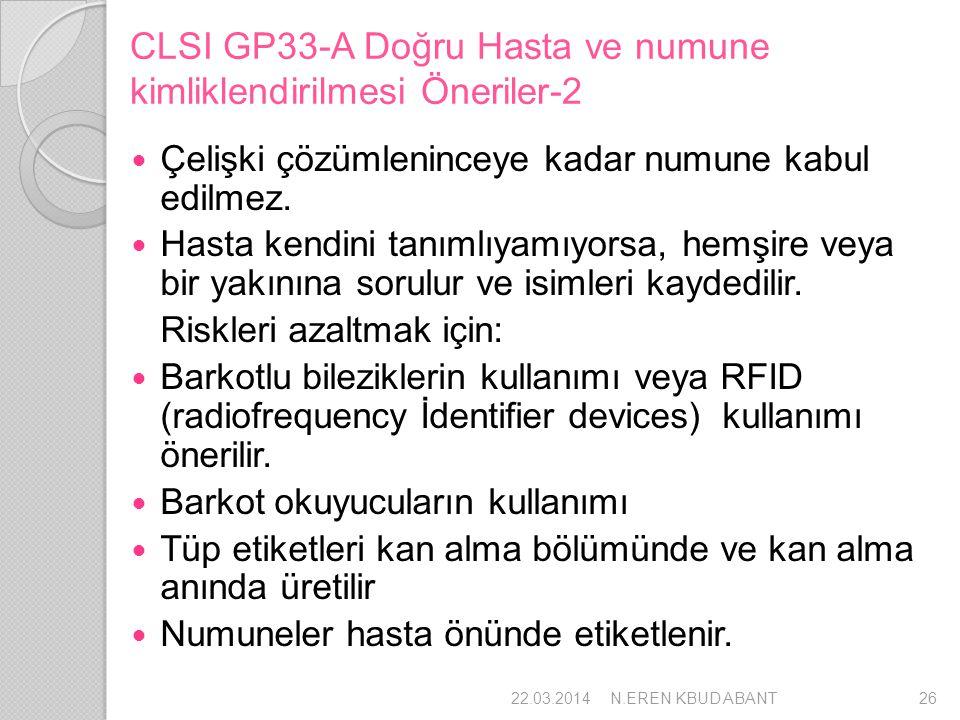 CLSI GP33-A Doğru Hasta ve numune kimliklendirilmesi Öneriler-2 Çelişki çözümleninceye kadar numune kabul edilmez. Hasta kendini tanımlıyamıyorsa, hem