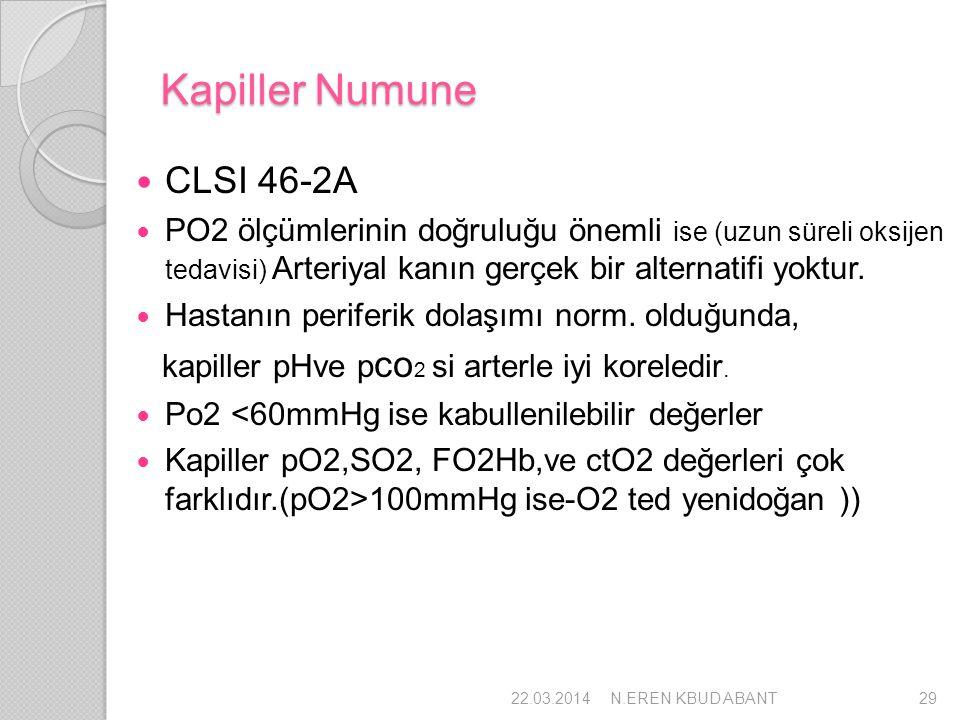 Kapiller Numune CLSI 46-2A PO2 ölçümlerinin doğruluğu önemli ise (uzun süreli oksijen tedavisi) Arteriyal kanın gerçek bir alternatifi yoktur. Hastanı