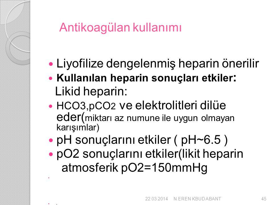 Antikoagülan kullanımı Liyofilize dengelenmiş heparin önerilir Kullanılan heparin sonuçları etkiler : Likid heparin: HCO3,pCO 2 ve elektrolitleri dilü