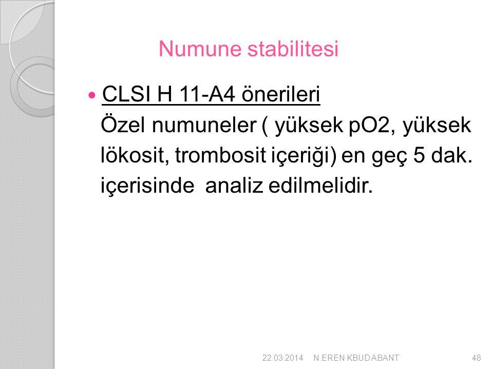 Numune stabilitesi CLSI H 11-A4 önerileri Özel numuneler ( yüksek pO2, yüksek lökosit, trombosit içeriği) en geç 5 dak. içerisinde analiz edilmelidir.