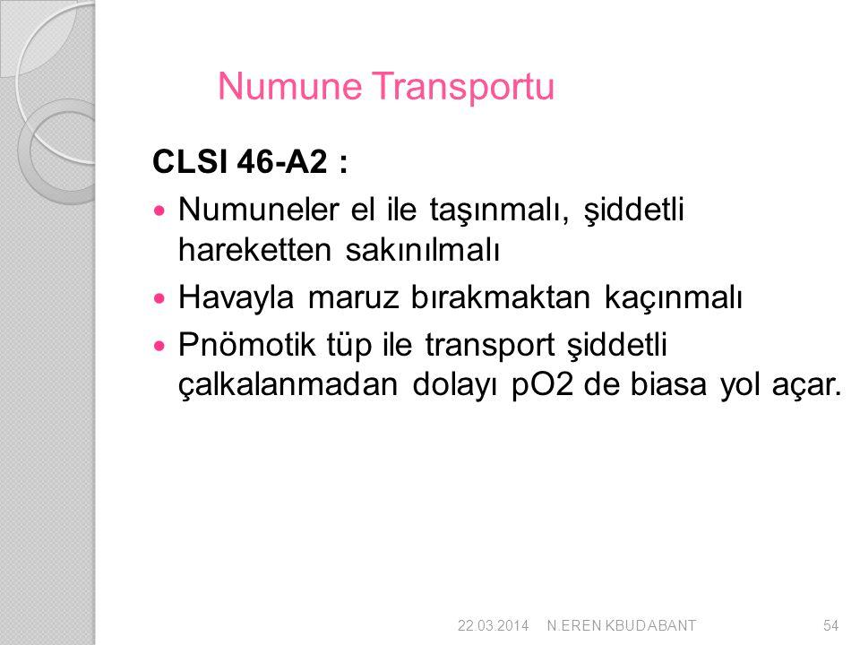 Numune Transportu CLSI 46-A2 : Numuneler el ile taşınmalı, şiddetli hareketten sakınılmalı Havayla maruz bırakmaktan kaçınmalı Pnömotik tüp ile transp