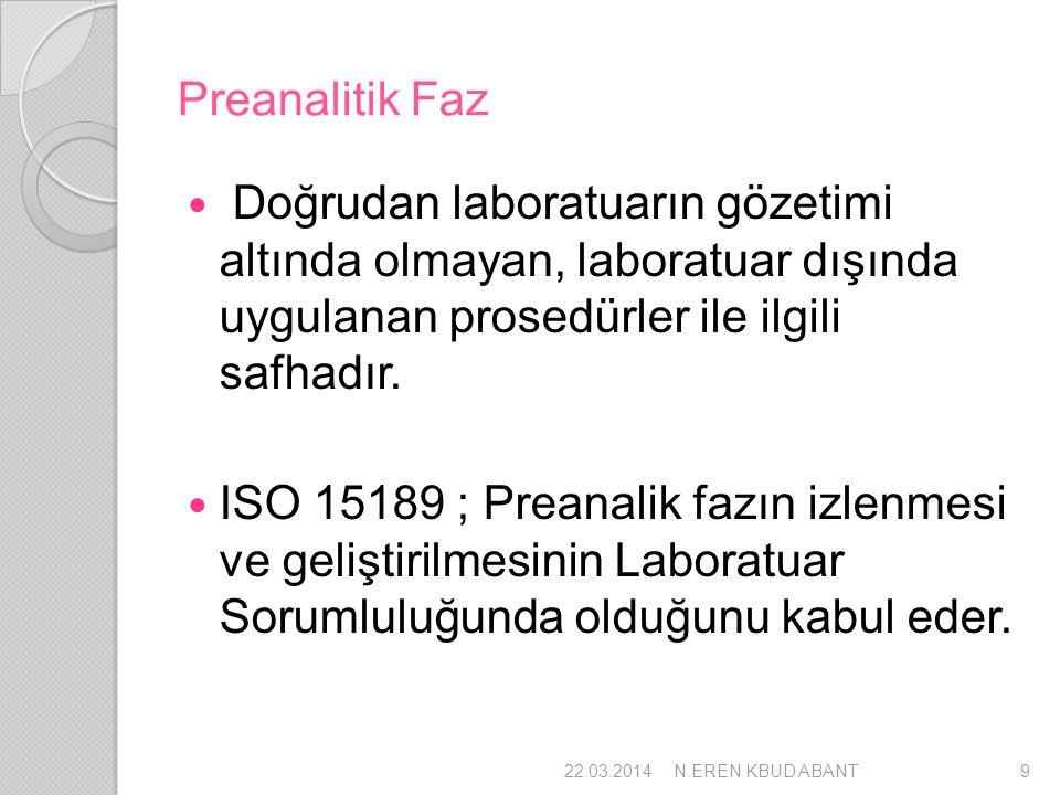 Preanalitik Faz Doğrudan laboratuarın gözetimi altında olmayan, laboratuar dışında uygulanan prosedürler ile ilgili safhadır. ISO 15189 ; Preanalik fa