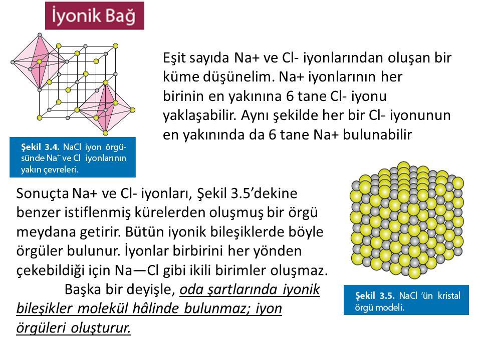 Eşit sayıda Na+ ve Cl- iyonlarından oluşan bir küme düşünelim. Na+ iyonlarının her birinin en yakınına 6 tane Cl- iyonu yaklaşabilir. Aynı şekilde her
