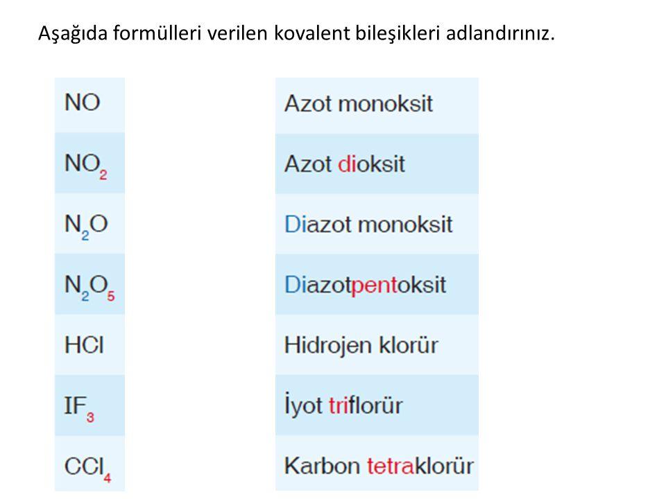 Aşağıda formülleri verilen kovalent bileşikleri adlandırınız.