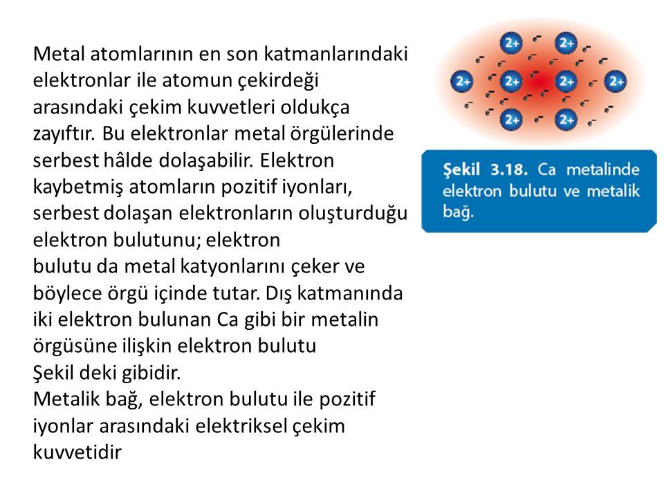 Metal atomlarının en son katmanlarındaki elektronlar ile atomun çekirdeği arasındaki çekim kuvvetleri oldukça zayıftır. Bu elektronlar metal örgülerin