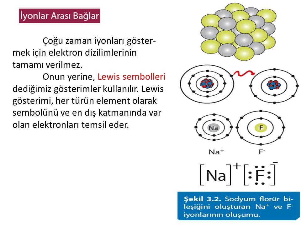 Çoğu zaman iyonları göster- mek için elektron dizilimlerinin tamamı verilmez. Onun yerine, Lewis sembolleri dediğimiz gösterimler kullanılır. Lewis gö