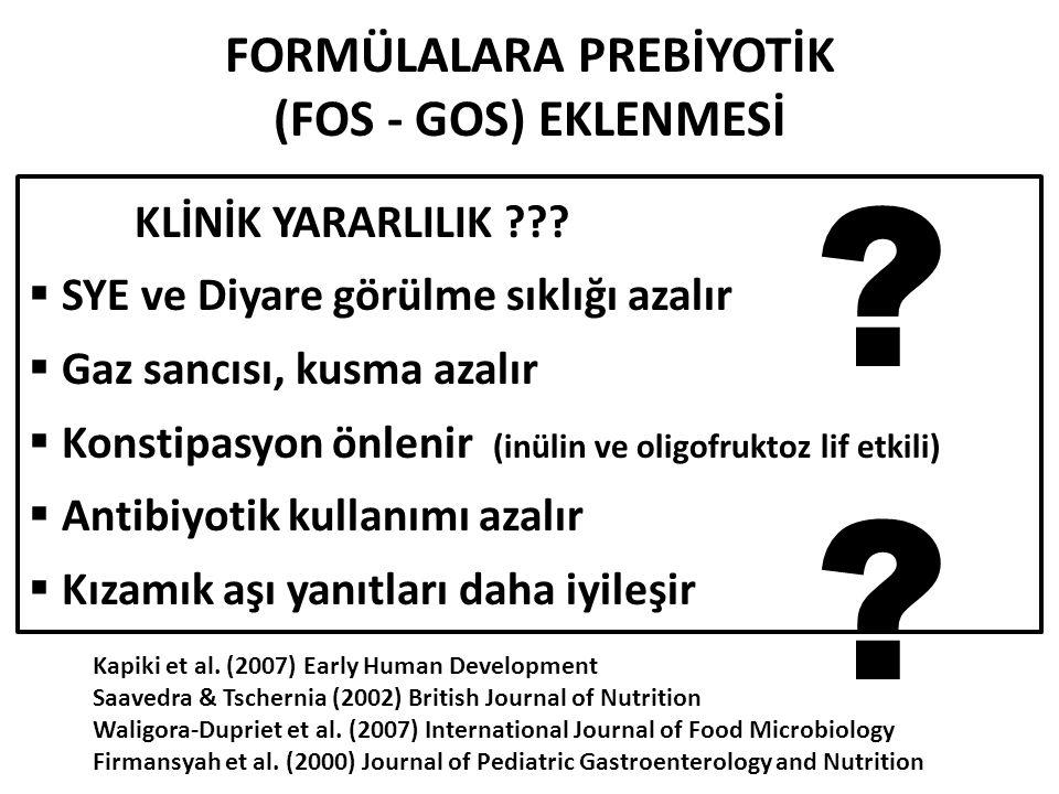 FORMÜLALARA PREBİYOTİK (FOS - GOS) EKLENMESİ KLİNİK YARARLILIK .