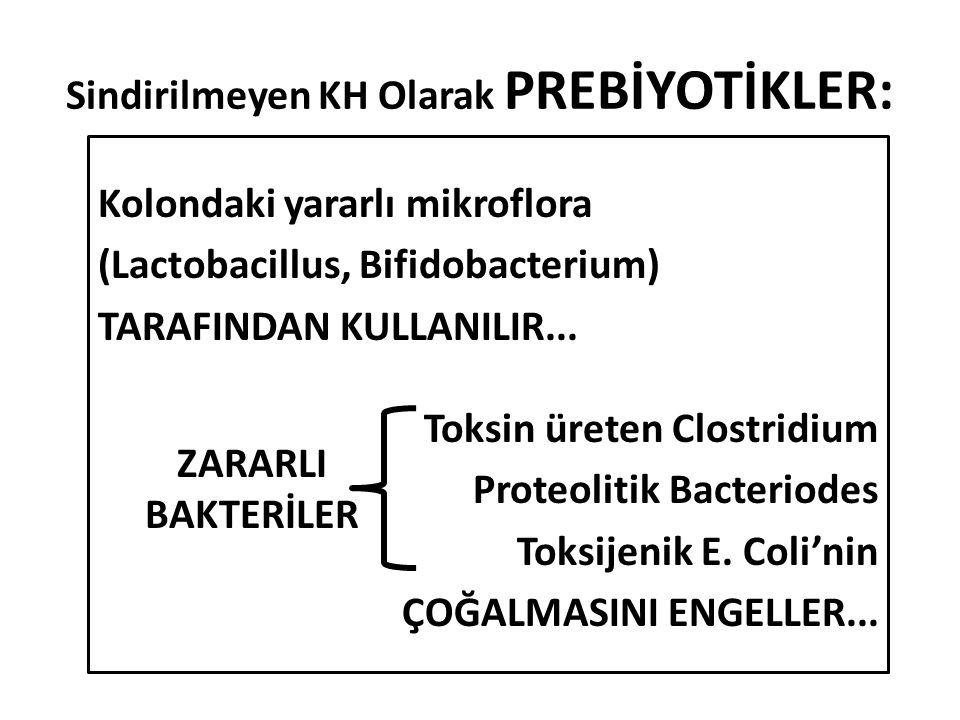 Sindirilmeyen KH Olarak PREBİYOTİKLER: Kolondaki yararlı mikroflora (Lactobacillus, Bifidobacterium) TARAFINDAN KULLANILIR...