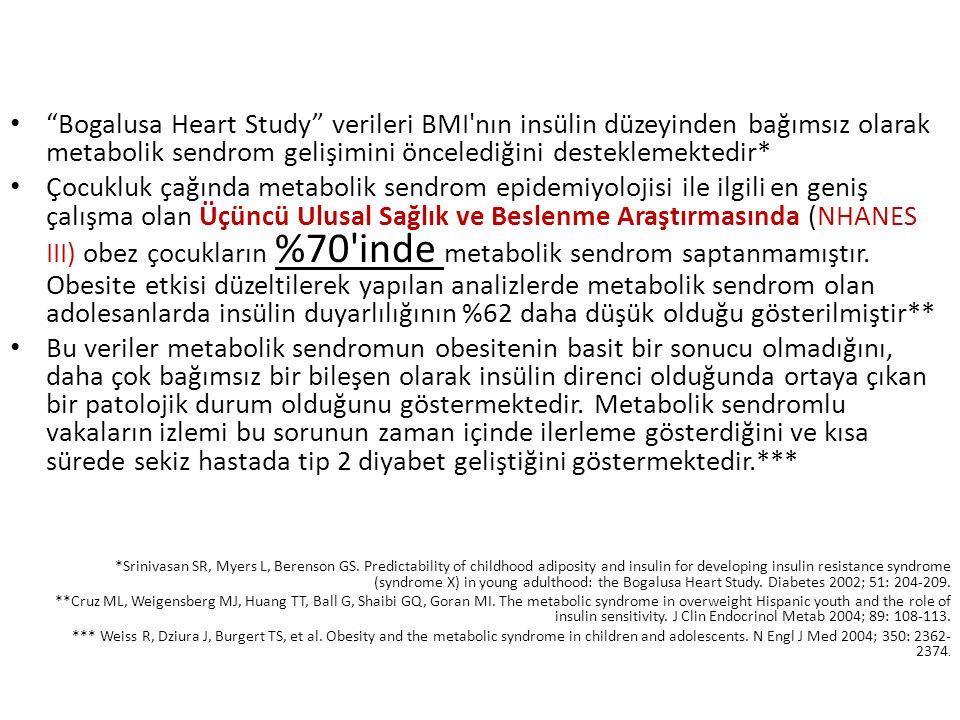 """""""Bogalusa Heart Study"""" verileri BMI'nın insülin düzeyinden bağımsız olarak metabolik sendrom gelişimini öncelediğini desteklemektedir* Çocukluk çağınd"""
