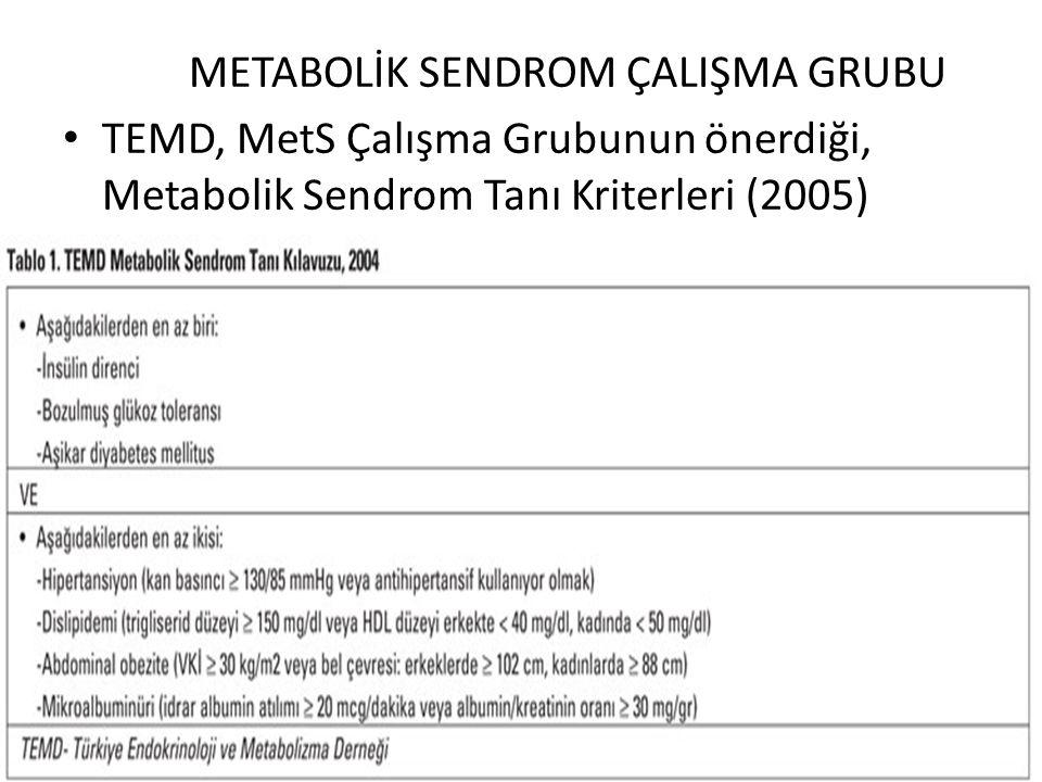 METABOLİK SENDROM ÇALIŞMA GRUBU TEMD, MetS Çalışma Grubunun önerdiği, Metabolik Sendrom Tanı Kriterleri (2005)