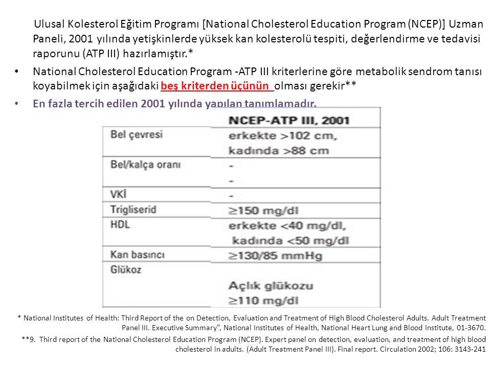 Ulusal Kolesterol Eğitim Programı [National Cholesterol Education Program (NCEP)] Uzman Paneli, 2001 yılında yetişkinlerde yüksek kan kolesterolü tesp