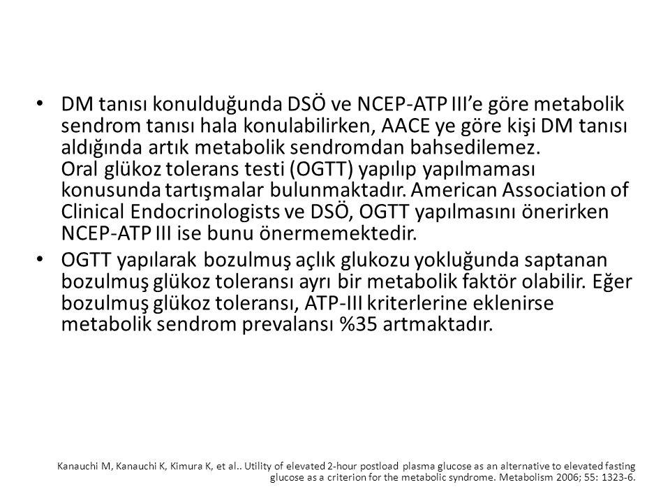 DM tanısı konulduğunda DSÖ ve NCEP-ATP III'e göre metabolik sendrom tanısı hala konulabilirken, AACE ye göre kişi DM tanısı aldığında artık metabolik