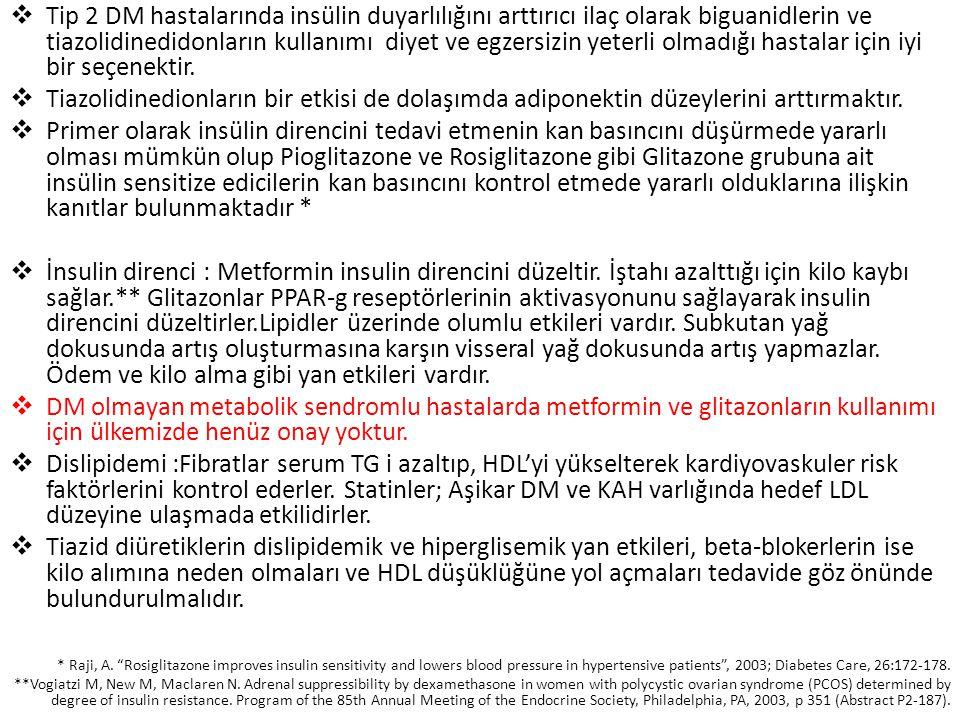  Tip 2 DM hastalarında insülin duyarlılığını arttırıcı ilaç olarak biguanidlerin ve tiazolidinedidonların kullanımı diyet ve egzersizin yeterli olmad