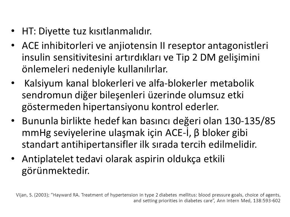 HT: Diyette tuz kısıtlanmalıdır. ACE inhibitorleri ve anjiotensin II reseptor antagonistleri insulin sensitivitesini artırdıkları ve Tip 2 DM gelişimi