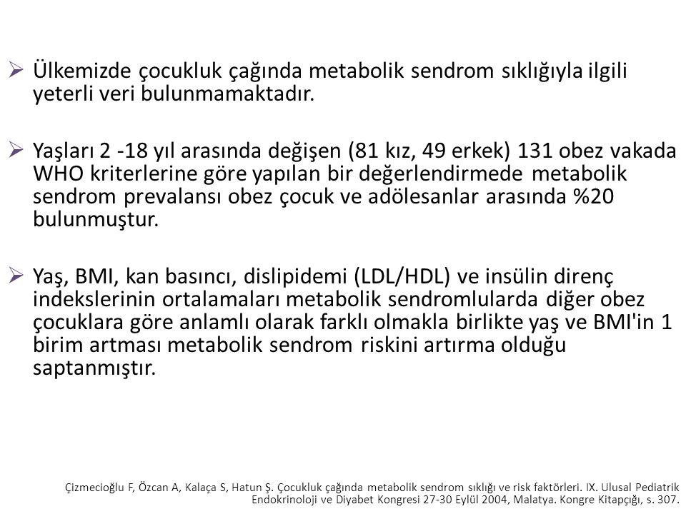  Ülkemizde çocukluk çağında metabolik sendrom sıklığıyla ilgili yeterli veri bulunmamaktadır.  Yaşları 2 -18 yıl arasında değişen (81 kız, 49 erkek)