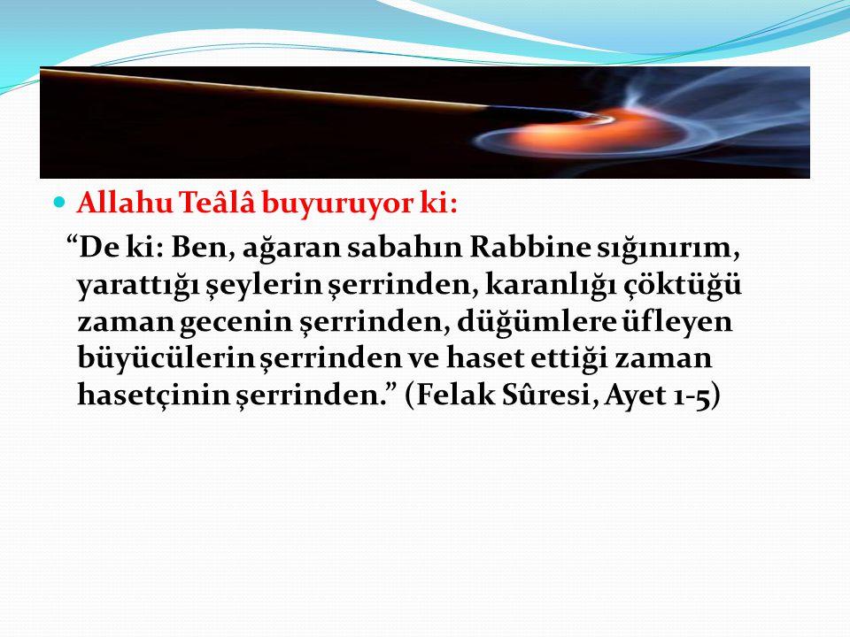 """Allahu Teâlâ buyuruyor ki: """"De ki: Ben, ağaran sabahın Rabbine sığınırım, yarattığı şeylerin şerrinden, karanlığı çöktüğü zaman gecenin şerrinden, düğ"""