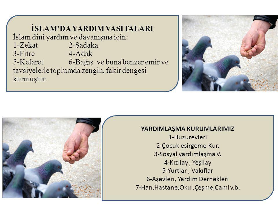 İSLAM'DA YARDIM VASITALARI İslam dini yardım ve dayanışma için: 1-Zekat 2-Sadaka 3-Fitre 4-Adak 5-Kefaret 6-Bağış ve buna benzer emir ve tavsiyelerle