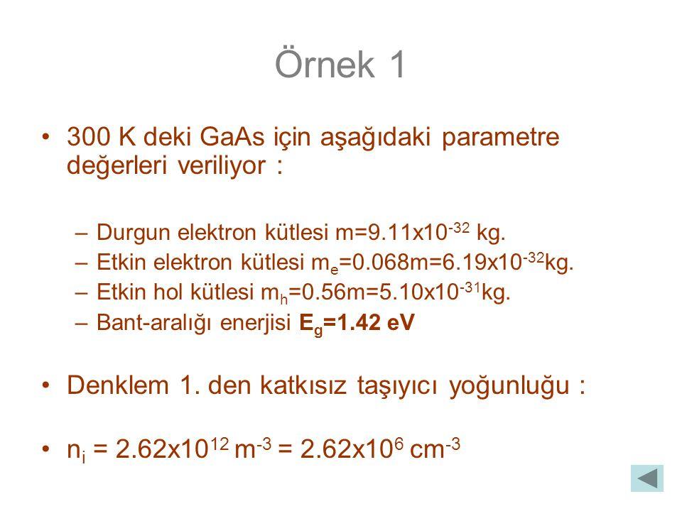 Örnek 1 300 K deki GaAs için aşağıdaki parametre değerleri veriliyor : –Durgun elektron kütlesi m=9.11x10 -32 kg.
