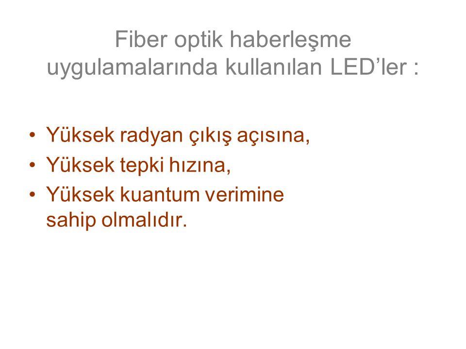 Fiber optik haberleşme uygulamalarında kullanılan LED'ler : Yüksek radyan çıkış açısına, Yüksek tepki hızına, Yüksek kuantum verimine sahip olmalıdır.