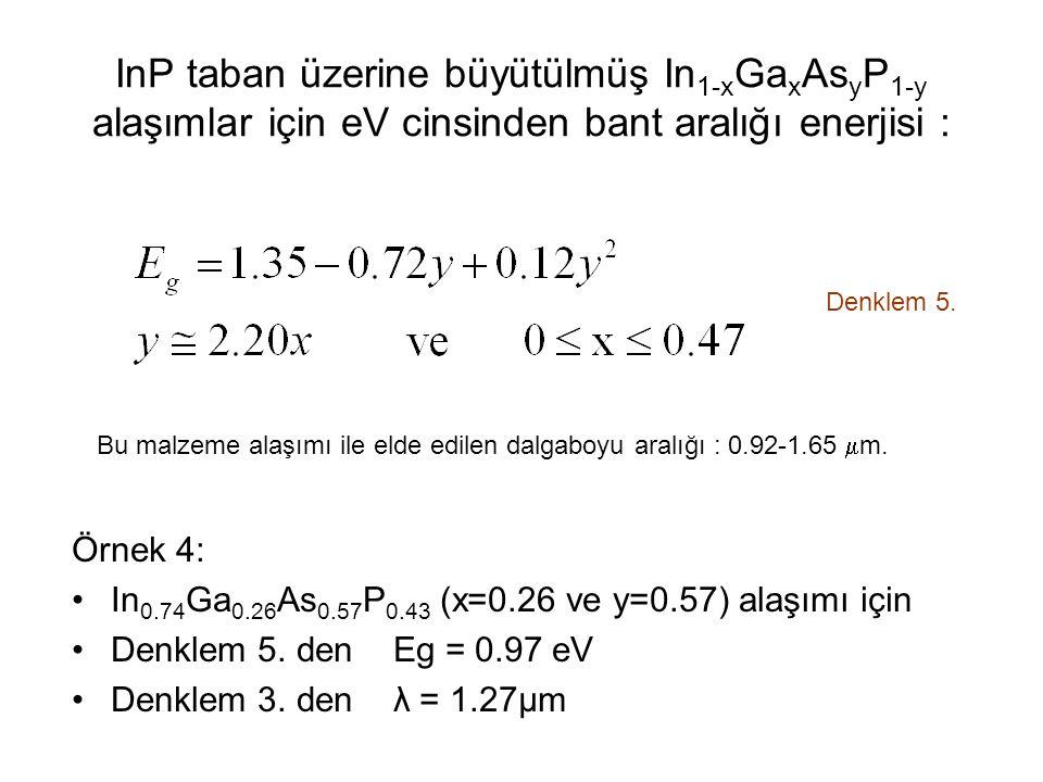 InP taban üzerine büyütülmüş In 1-x Ga x As y P 1-y alaşımlar için eV cinsinden bant aralığı enerjisi : Denklem 5.