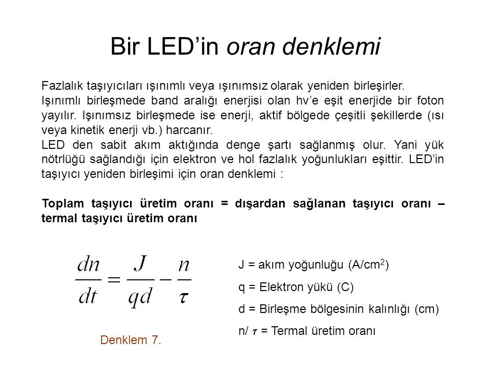 Bir LED'in oran denklemi Denklem 7.