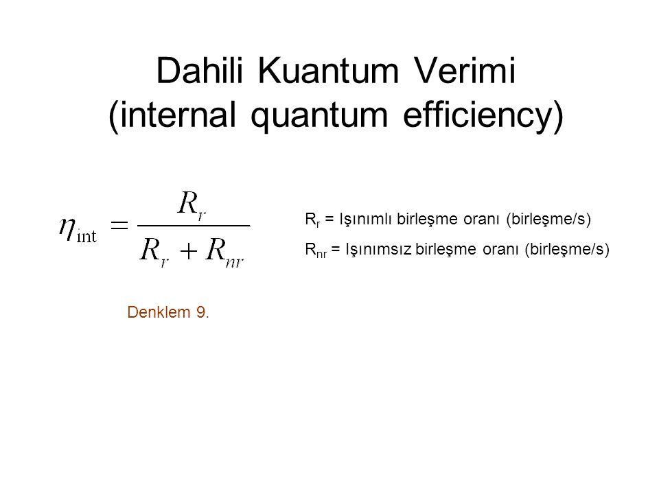 Dahili Kuantum Verimi (internal quantum efficiency) Denklem 9.