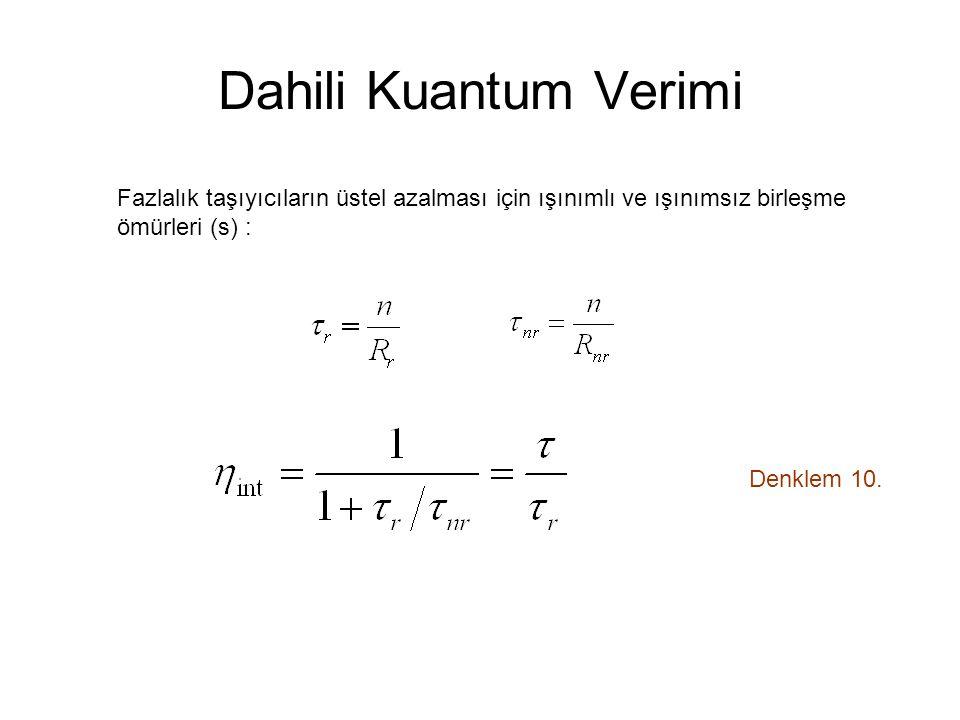 Dahili Kuantum Verimi Denklem 10.