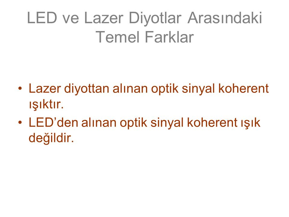 Koherent bir kaynakta; –Optik sinyal, bir optik rezonatör (optical cavitiy) içerisinde üretilir.